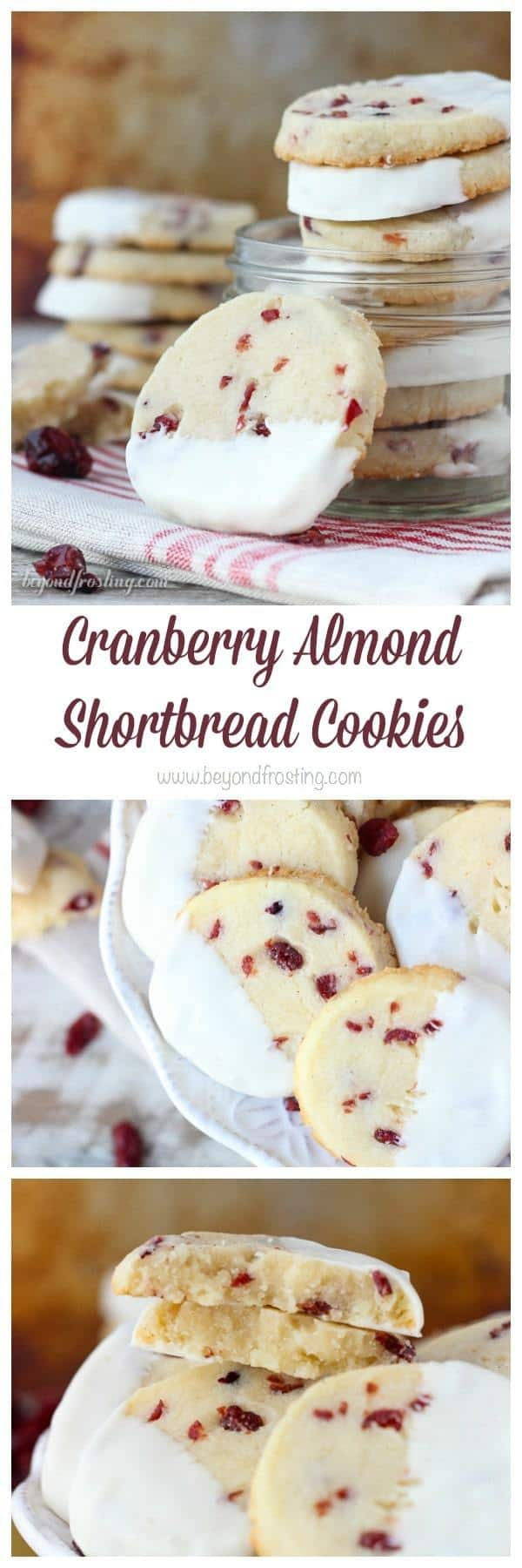 These Cranberry Almond Shortbread Cookies are a soft and buttery almond shortbread loaded with sweetened cranberries and dipped in white chocolate.