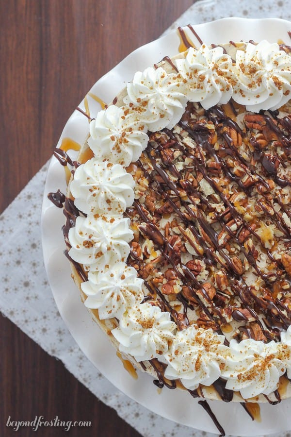 You can't go wrong with this No-Bake Gingersnap Icebox Cake. Layers of gingersnap cookies and a molasses mousse. This dessert is topped off with plenty of caramel, hot fudge and pecans.