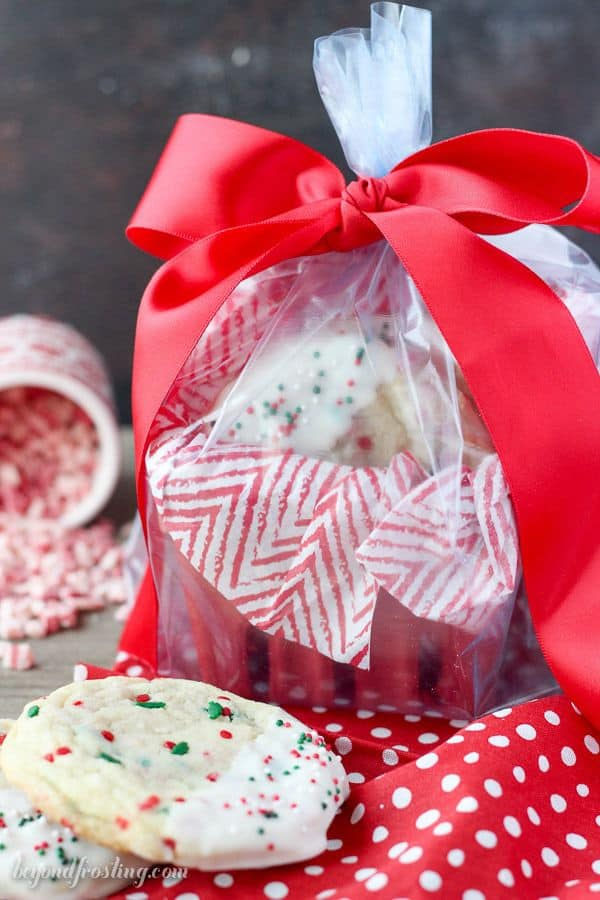 Red basket filled with sugar cookies for Christmas.