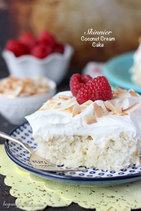 Don't feel guilty with this Skinny Coconut Cream Poke Cake! This is a healthier version of my favorite coconut poke cake. I can't get enough.