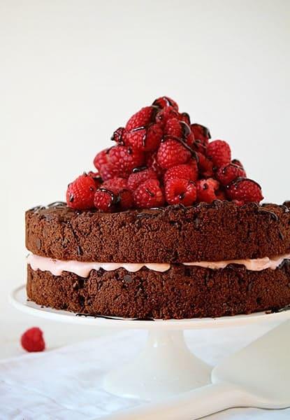 Skiny CHocolate raspberry cake