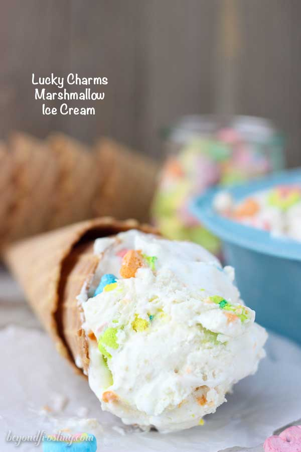 This Lucky Charms Marshmallow Ice Cream cereal milk flavored vanilla ice cream layered with the marshmallow fluff and Lucky Charms marshmallows. It's gooey, sweet and all together magical.