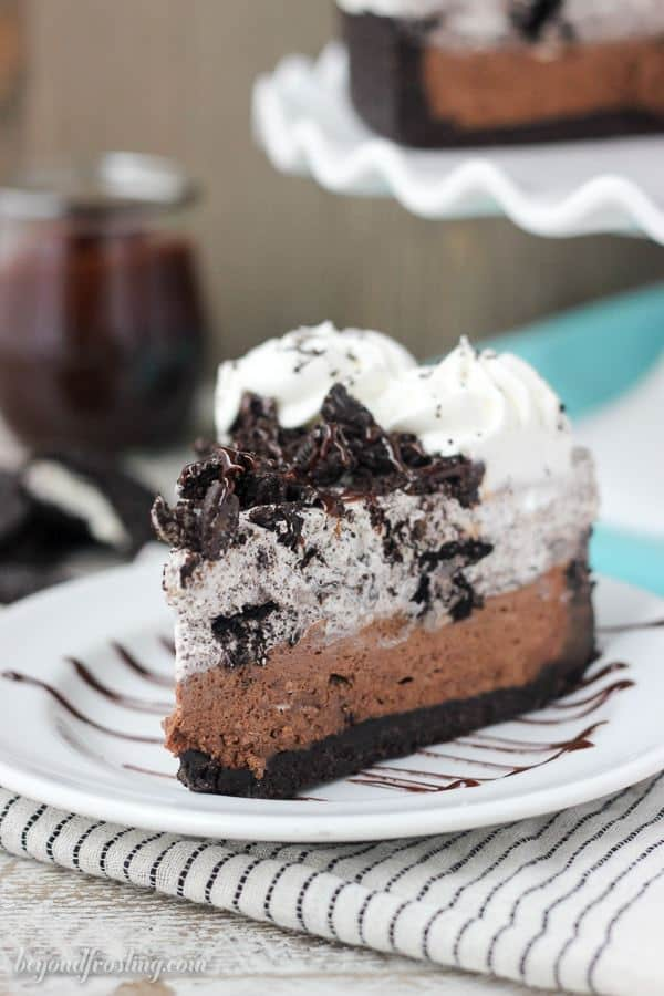 A Piece of Oreo Chocolate Mousse Pie Topped with Whipped Cream