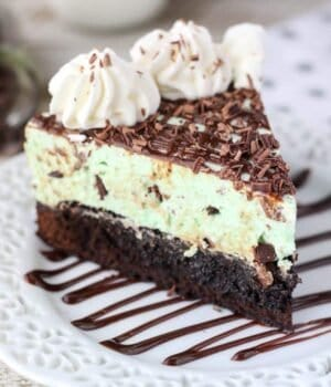 You'll want to dive right in to this Brownie Bottom Mint Chip Mousse Pie. The fudgy brownie layer is topped with a perfect mint chip mousse.