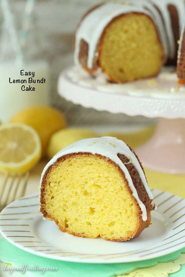 This easy lemon bundt cake is perfect for spring. It's bursting with fresh lemon flavor! It starts with a cake mix and it stays fresh for days!