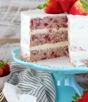 Fresh Strawberry Cake with Lemon Swiss Meringue Buttercream