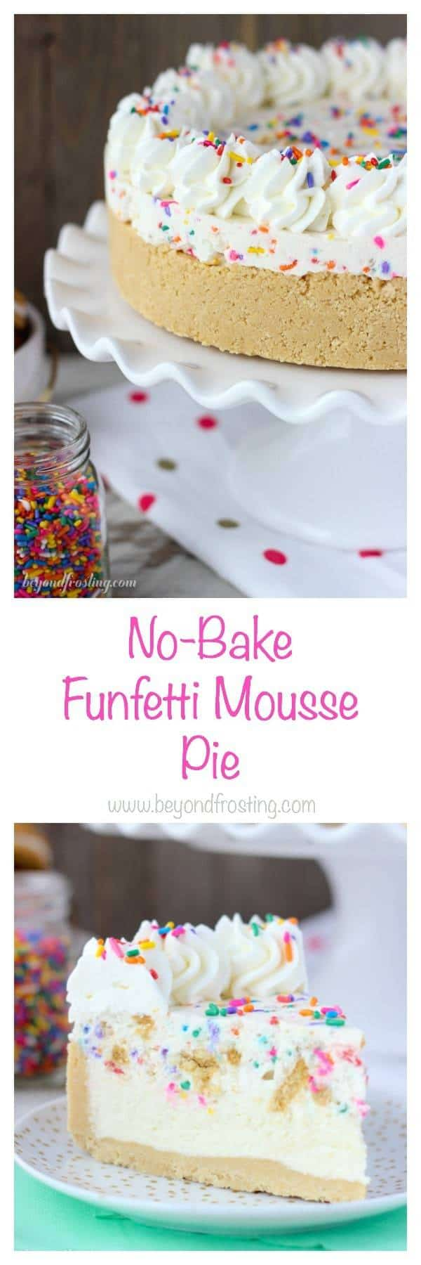 No-Bake Funfetti Mousse pie is everything you dream of. It starts with a thick Oreo crust, with a layer of white chocolate mousse and another layer of Oreo Funfetti Mousse made with cake batter whipped cream!