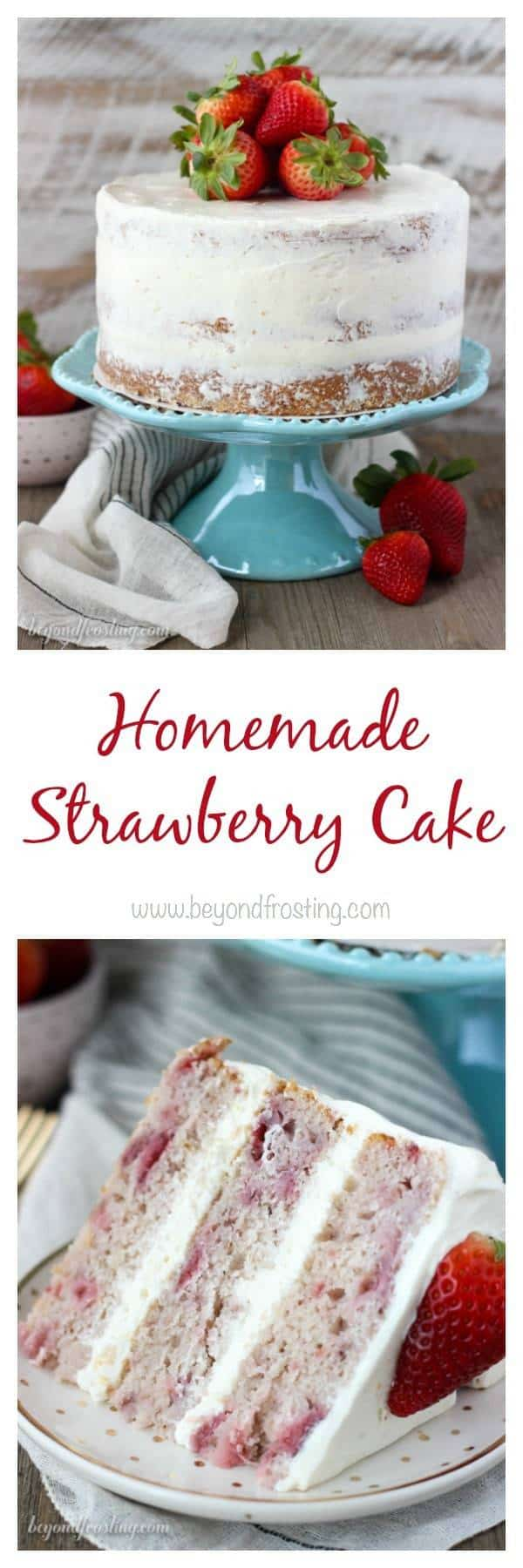 You'll love this fresh Homemade Strawberry Cake. With three different types of strawberry flavors, this is the ultimate spring cake! It's filled with a lemon Swiss Meringue Buttercream.
