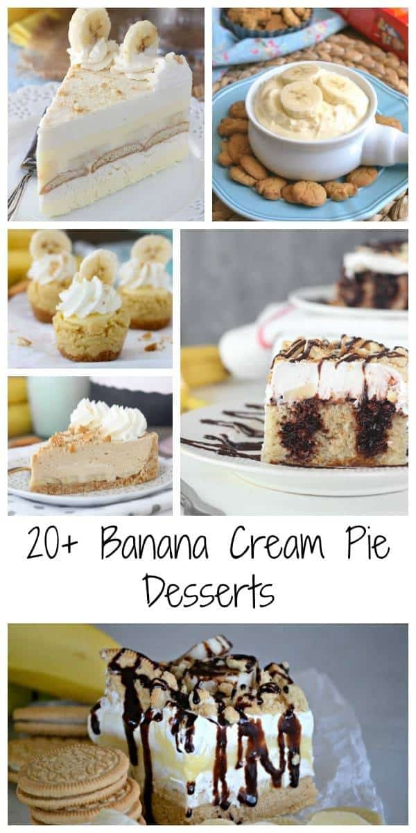 20+ Headspinning Banan Cream Pie Recipes. Everything from banana cream pie to dip, frozen treats and no-bake banana cream pie. There is something for everyone!