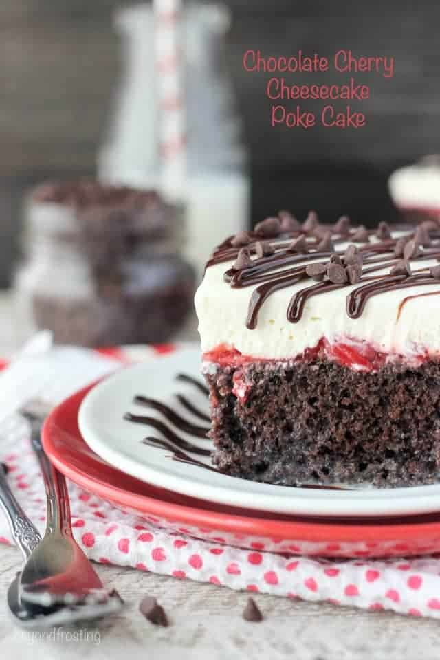 This Chocolate Cherry Cheesecake Poke Cake is a chocolate cake soaked in sweetened condensed milk, cherry pie filling and a cheesecake whipped cream.