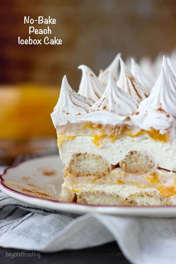 Summer time is the perfect time for No-Bake Peach Icebox Cake. Layers of bourbon and cinnamon soaked ladyfingers, mascarpone cheese and peach pie filling. Make sure you get a little bit of every layer in each bite.