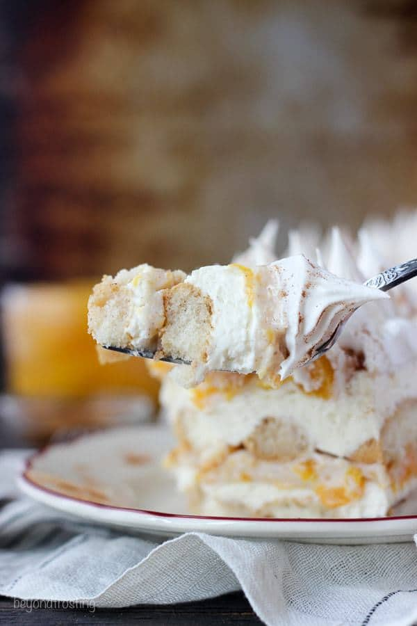 Transform your peach pie filling with this No-Bake Peach Icebox Cake. Layers of bourbon and cinnamon soaked ladyfingers, mascarpone cheese and peach pie filling.