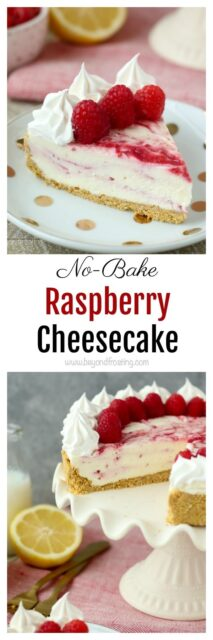 This EASY No-Bake Raspberry Swirl Cheesecake has a buttery graham cracker crust and layers of no-bake cheesecake and a fresh raspberry purée.
