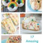 Reach for your favorite box of cereal and turn it into one of these amazing desserts! From No-Bake Fruity Pebble Cheesecake to Fruity Pebble stuffed cookies, ice cream and popsicles, you can't really go wrong here.