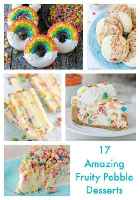 A Collage of 5 Different Fruity Pebble Desserts