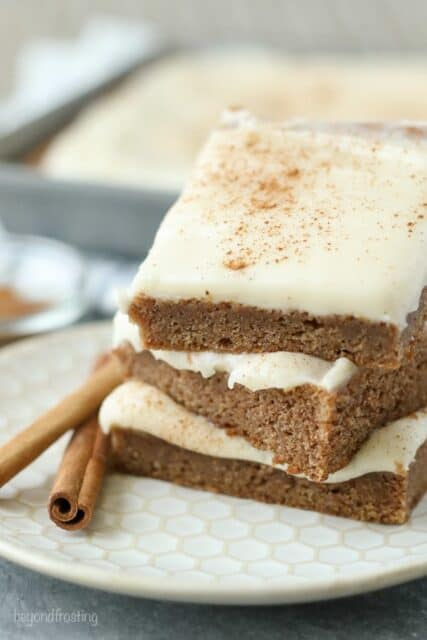 Thesesoft and chewy Cinnamon Roll Blondies are topped with a silky cream cheese frosting.