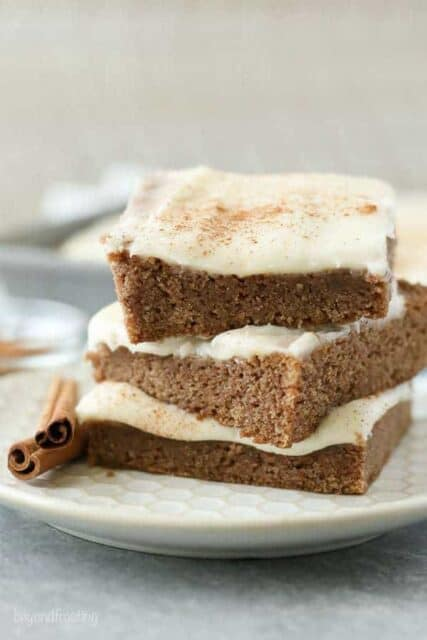 Once you sink your teeth into these Cinnamon Roll Blondies, there's no turning back. Thesesoft and chewy cinnamon blondies are topped with a silky cream cheese frosting.