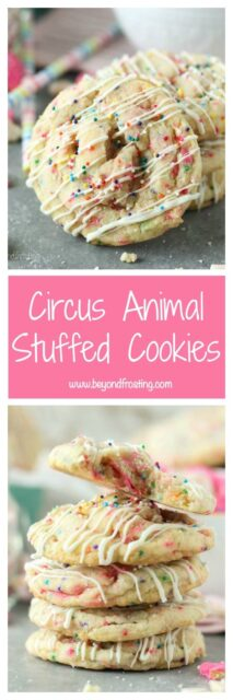 Collage of photos of Circus Animal Stuffed Cookies