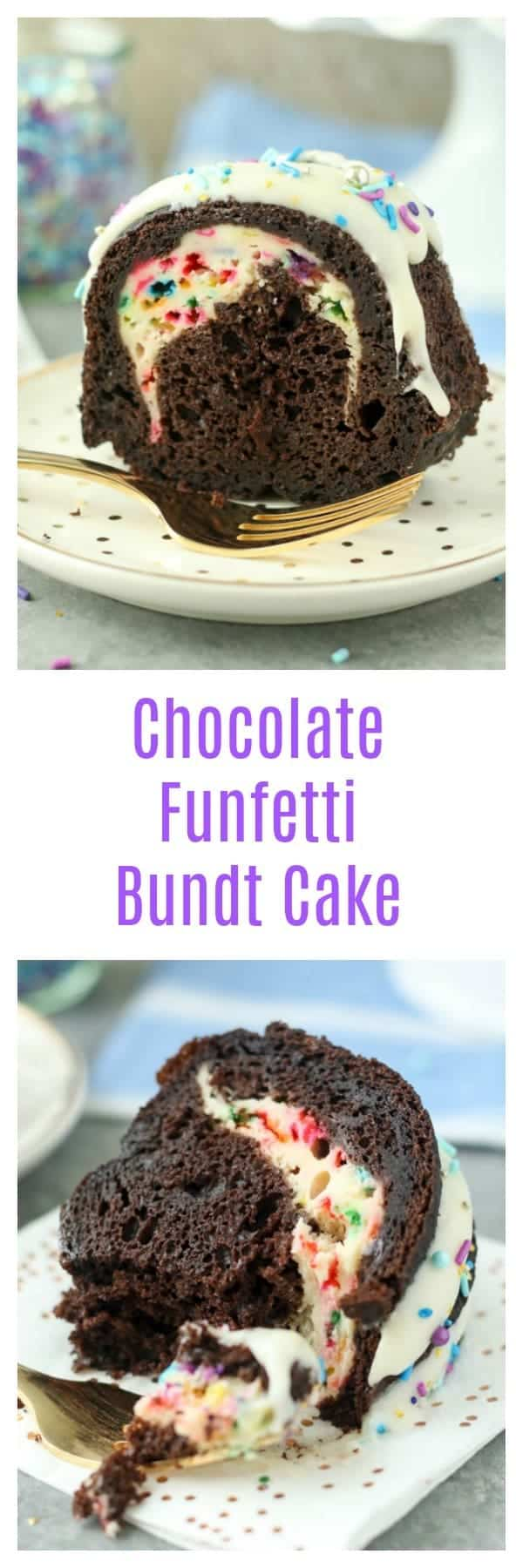 One bite of this Chocolate Funfetti Cheesecake Bundt Cake is not enough. This dark chocolate cake is filled with a funfetti cheesecake filling and a cream cheese glaze. Plus, there's plenty of sprinkles to go along!