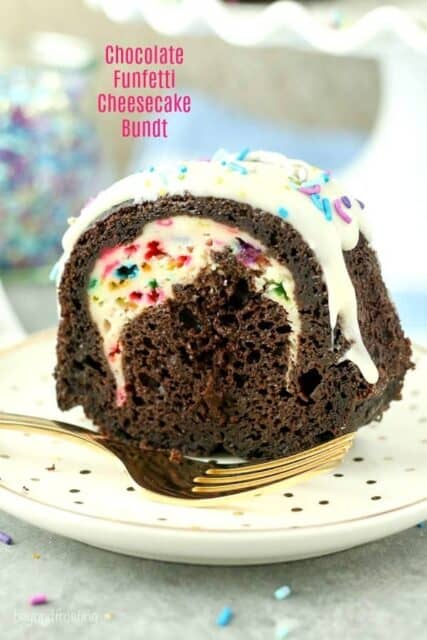 One bite of this Chocolate Funfetti Cheesecake Bundt Cake is not enough. This dark chocolate cake is filled with a funfetti cheesecake filling and a cream cheese glaze. Plus there's plenty of sprinkles to go along!