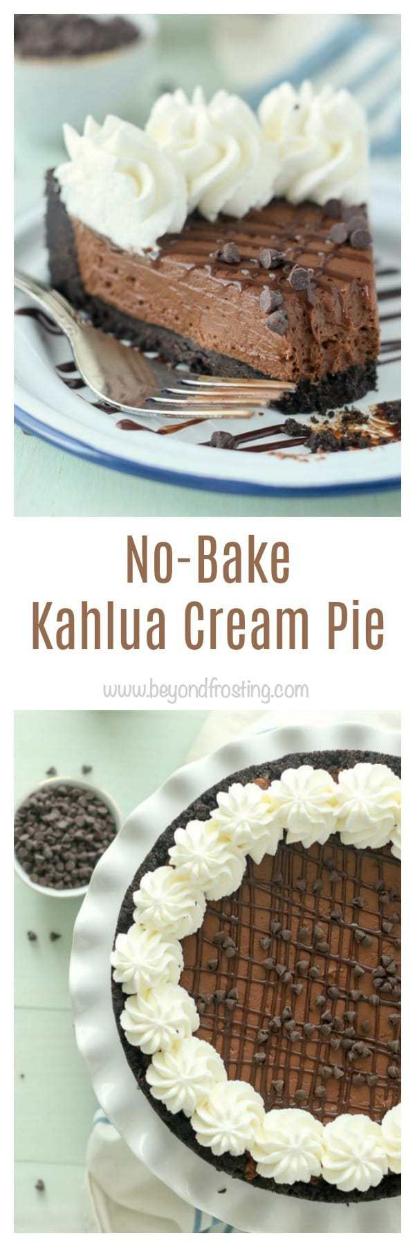 This homemade No-Bake Kahlua Cream Pie is a chocolatey Kahlua-spiked pudding with a thick Oreo crust.