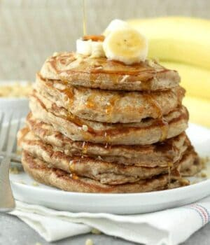 Walnut Protein Pancakes come together in a snap. With fresh bananas, protein pancake mix a touch of cinnamon and a handful of walnuts, you'll make these time and time again