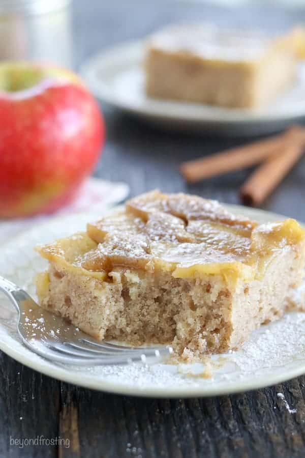Get your hands on this Apple Upside Down Cake. This cake has a caramelized brown sugar topping with fresh sliced apples covered in a moist spice cake made with half the sugar of a normal cake.