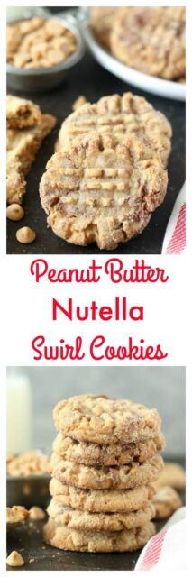 These Peanut Butter Nutella Swirl Cookies are as dreamy as they look! A soft-baked peanut butter cookie swirled with Nutella and rolled in sugar.