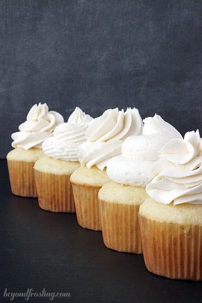 5 gorgeous cupcakes with creamy vanilla frosting showing the different piping tips.