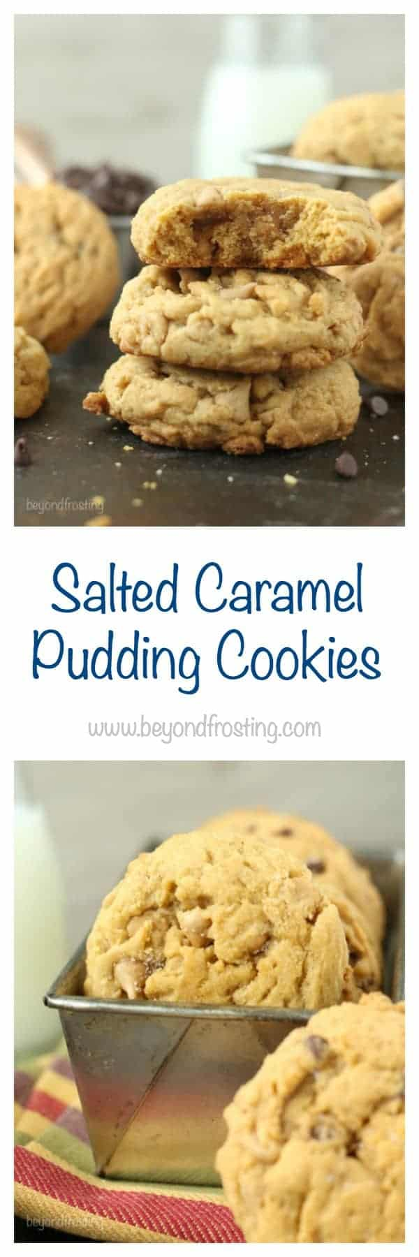 Salted Caramel Pudding Cookies are soft-baked cookies loaded with salted caramel chips and sprinkled with a touch of salt.