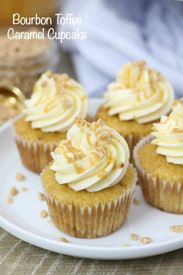These Toffee Caramel Cupcakes with Bourbon Caramel Buttercream are homemade caramel based cupcakes with toffee pieces and it's covered with a Bourbon Caramel frosting.