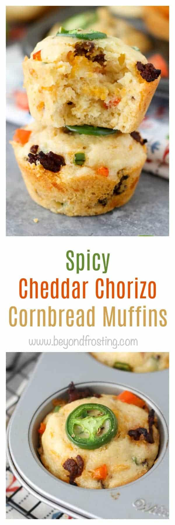 These tex-mex inspired Spicy Cheddar Chorizo Cornbread Muffins are stuffed full of chorizo, red peppers, jalapeños and cheddar cheese.