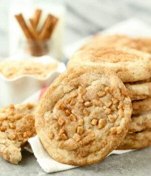 Close up photo of Toffee Snickerdoodle Cookies