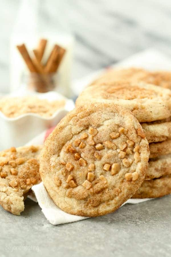 Image of Toffee Snickerdoodle Cookies with toffee bits