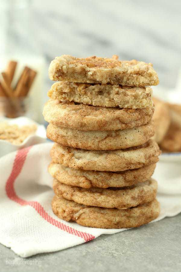 Toffee Snickerdoodle stacked high on a white towel