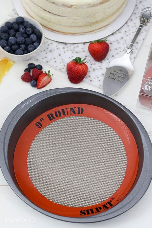 A 9 inch round pan with a round silpat liner in the pan