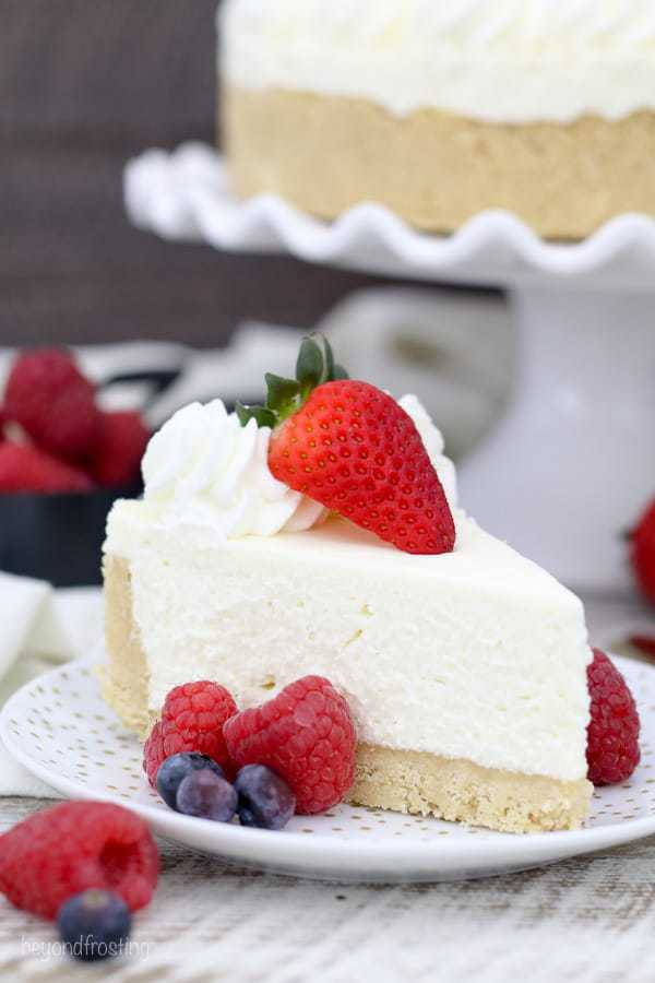 a slice of no-bake cheesecake on a plate with fruit