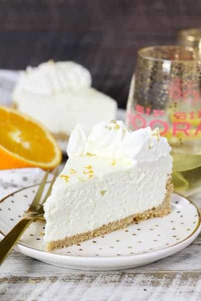 slice of white chocolate cheesecake on plate
