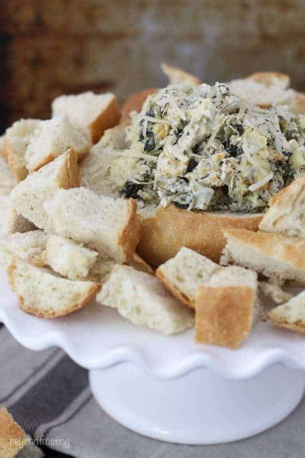 Weight Watchers Spinach and Artichoke Dip in a bread bowl