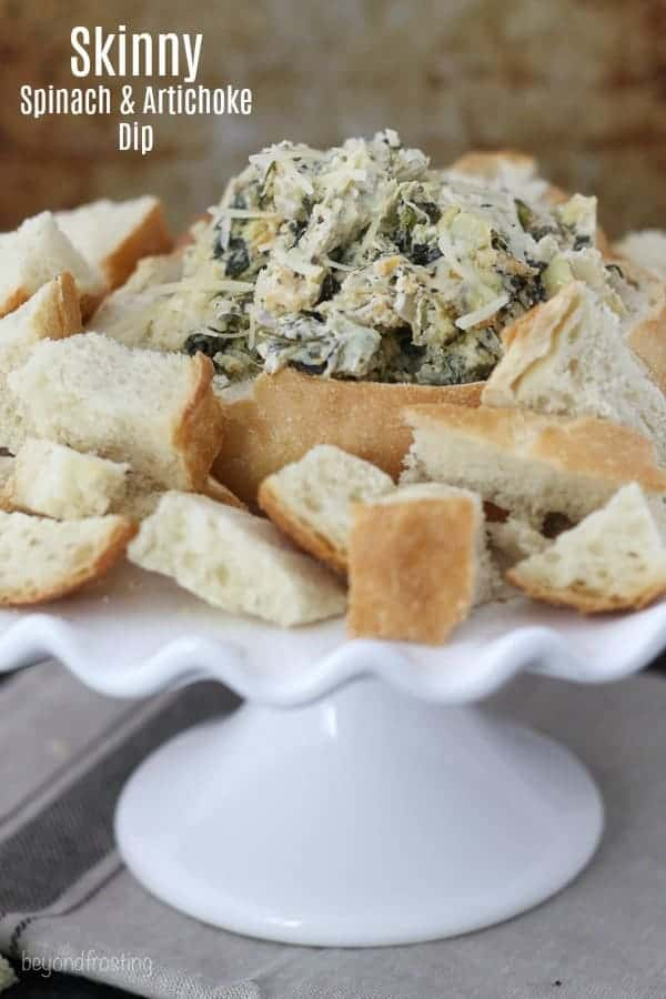 Bread bowl with spinach and artichoke dip