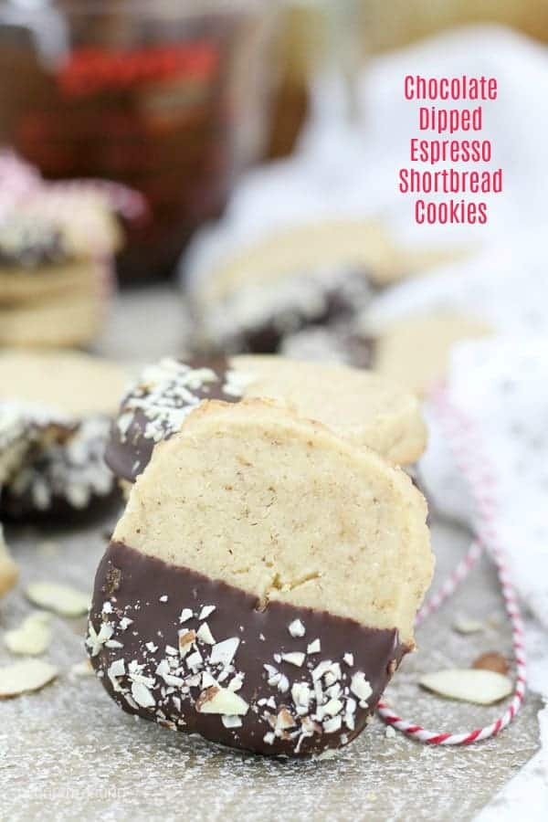 A chocolate dipped espresso shortbread cookie