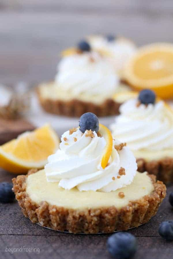 Three mini Meyer lemon pudding tarts sprinkled with lemon and blueberry