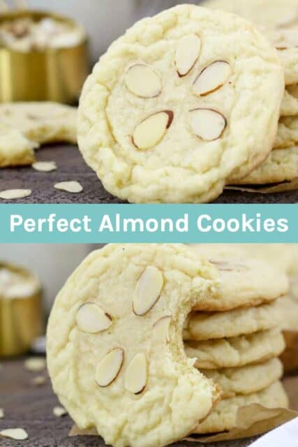 two images of almond cookies with text overlay