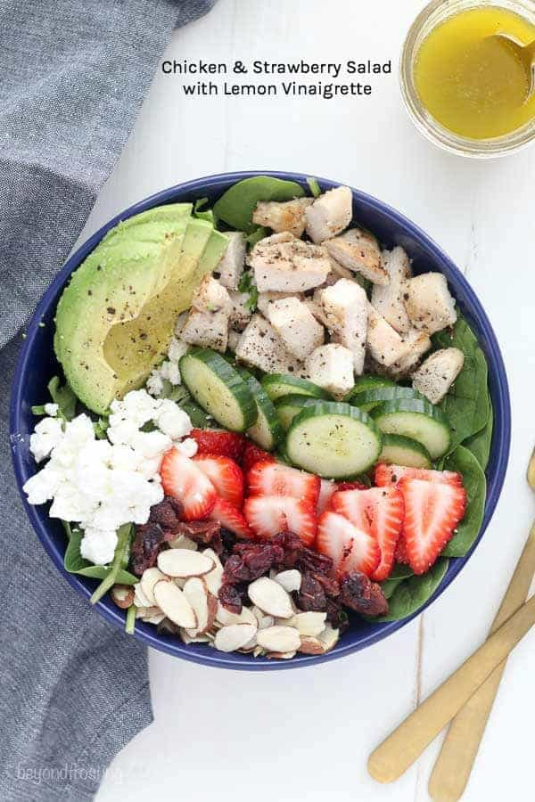Chicken Strawberry Salad with a homemade lemon vinaigrette dressing