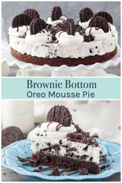 Oreo Mousse Pie with brownie on the bottom photo collage