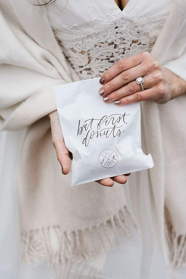 Donut Favor bags for this outdoor winter wedding in Central Oregon. © Kimberly Kay Photography