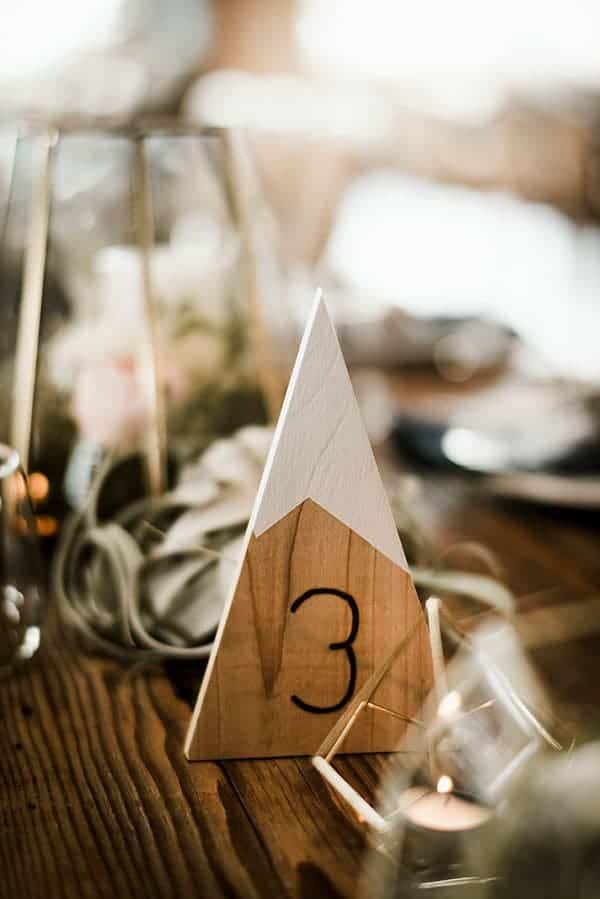 DIY mountain themed table numbers © Kimberly Kay Photography