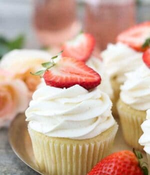 Strawberry Rosé Cupcakes