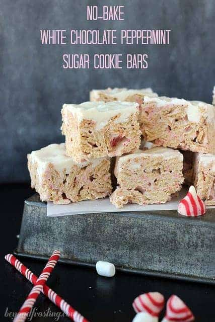 No-Bake White Chocolate Peppermint Sugar Cookie Bars