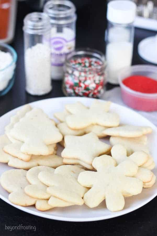 A plate of baked sugar cookies ready to decorate